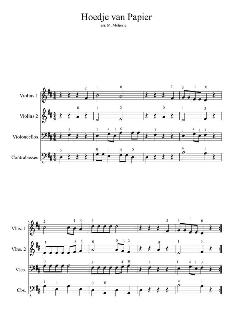 Magnifiek Hoedje van papier - Partituur (strijkers) - Orkest in de klas &SX66