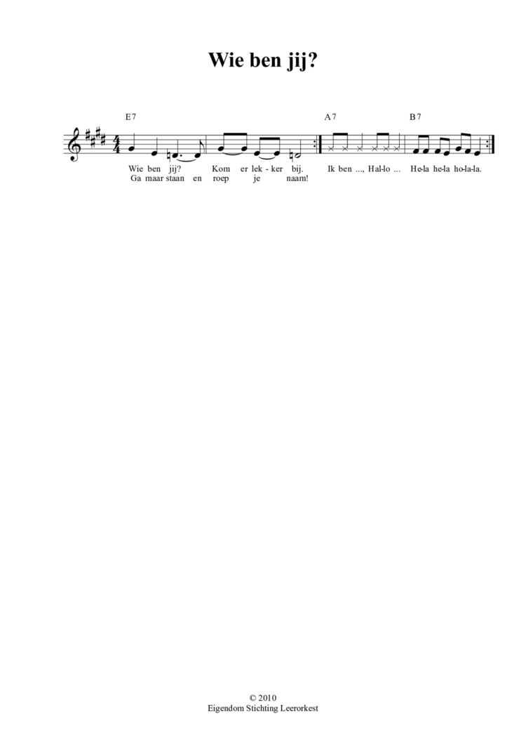 Verbazingwekkend Kennismakingsliedje - Wie ben jij? - Orkest in de klas EH-81